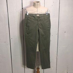Green J. Crew Frankie Pants Size 2P